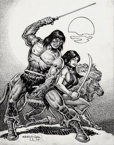 CONAN / BELIT / LION PINUP - ORIGINAL COMIC ART (2005) - W.B.