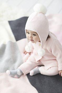 Elegant Baby Pink Cardigan & Knit Pants