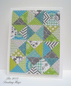handmade greeting card .. MFW Trendy Triangles by quilterlin .... quilt card ... green, blue, grays ... fascinating look moving in and out of squares made of triangles ... great card!!