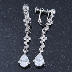 Bridal/ Wedding/ Prom Clear Cz Linear Clip On Earrings In Rhodium Plating - 53mm L - main view