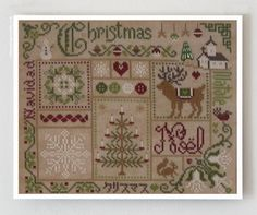 French cross stitch patterns : Christmas Jardin Prive Nathalie Cichon sampler holidays December Winter hand embroidery