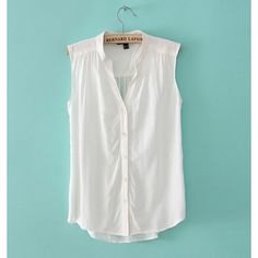 Decent Design Pure Color Pleating V-Neck Vest White via Polyvore