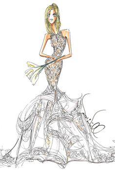 Wedding dress sketch for Jennifer Aniston | Theia | brides.com