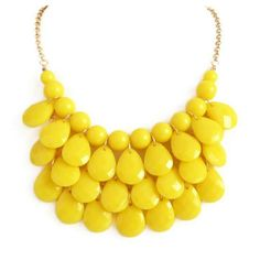 Yellow necklace Yellow Necklace, Yellow Jewelry, Pearl Necklace, Beaded Necklace, Pretty Necklaces, Yellow Fashion, Wedding Hair And Makeup, Cheap Jewelry, Ring Earrings