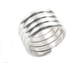 Coiled Sterling Silver Wide Band Ring Handmade Solid Silver