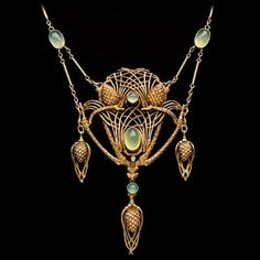 JEAN-ETIENNE DIMANCHE born Paris 'Fir Cone Necklace'  Gilded silver Chalcedony by Digirrl Fir Cones, Lost Art, Art Nouveau Jewelry, Metal Working, Gold Necklace, Brooch, Jewelry Making, Drop Earrings, Pendants