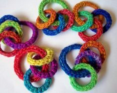 Rainbow O Ring Cat Toy, Ferret Toy, Toys Rings - Handmade, Hand Crocheted, Recycled Rings