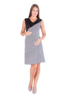 Black & White Striped Maternity Dress #MaternityDress #MaternityWearOnline