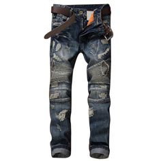GMANCL Biker Men Jeans Homme hip Hop Pleated Hole Slim Fit Distressed Ripped Denim Male Stone Washed Punk  Cotton Jeans