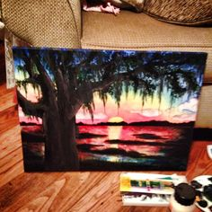 Edisto sunset, mixed media on canvas for my sissy:)