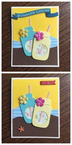Handmade summer cards using EK Success glass / mason jar punch. Kids Birthday Cards, Handmade Birthday Cards, Greeting Cards Handmade, Summer Crafts For Kids, Crafts For Kids To Make, Tarjetas Diy, Mason Jar Cards, Creative Cards, Cool Cards