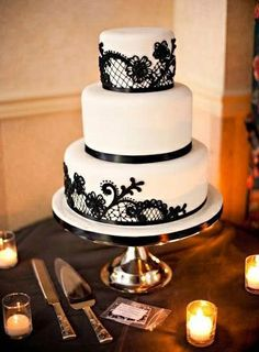 New Wedding Cakes Simple Teal Black White Ideas The Effective Pictures We Offer You About wedding cakes simple gold A quality picture can tell you many things. You can find the most beautiful pictures Black And White Wedding Theme, Black Wedding Cakes, Lace Wedding, Skull Wedding, Glitter Wedding, Purple Wedding, Elegant Wedding, Black White Cakes, Image Blog