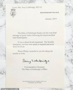 The Duke of Edinburgh has sent out thank you letters to all who wrote to him following his...