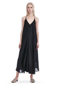 T by ALEXANDER WANG new-arrivals-t-by-alexander-wang-woman SILK CHARMEUSE TRAPEZE MIDI DRESS