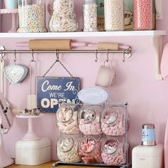 candy+jars+display A Retro Pastel Kitchen and Baking Dream Pastel, Retro, Vintage, Kitchen, Decor, Parlour, Cafe, Diner, Shoppe, Manuela Kjeilen, Passion For Baking,