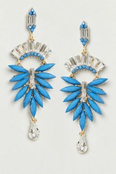 Feather Falls Blue Dangle Earrings at LuLus.com! #lulus #holidaywear