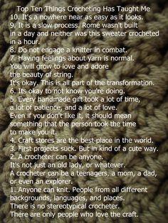 Top Ten Things Crocheting Has Taught Me ❥ 4U // hf