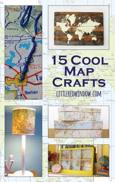 15 Cool Map Crafts, recycle and repurpose old maps!  | http://littleredwindow.com