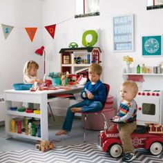 THINK THIS ORIGINALLY PINNED PLAYROOM TABLE IS BEST B/C IT'S LARGEST --- Compartment Department Play Table (White)  | The Land of Nod