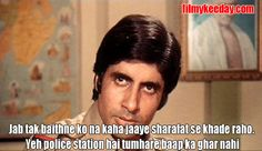 Bollywood Dialogues Meme Movie : Zanjeer Amitabh Bachchan Dialogues Jab Tak Baithne ko Na Kaha jaye! by Filmy Keeday Bollywood Posters, Bollywood Actors, Bollywood News, Vintage Bollywood, Famous Dialogues, Movie Dialogues, Amitabh Bachchan Quotes, Famous Phrases, Famous Movie Quotes