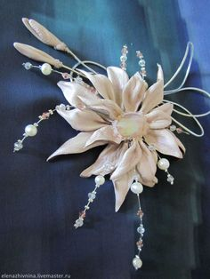Купить Брошь Магия любви - бледно-розовый, брошь цветок, брошь из кожи