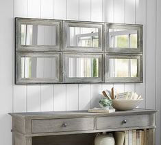 Kitchen Living Room Aiden Large Mirror, 6 Pane - Antiqued wood is accented with metal trim on the Aiden Large Wall Mirror. Part of the Aiden Collection, it has an artisanal look that adds vintage charm to a room. Extra Large Wall Mirrors, White Wall Mirrors, Silver Wall Mirror, Rustic Wall Mirrors, Decorative Mirrors, Mirror Set, Pottery Barn Mirror, Diy Mirror, Living Room Mirrors