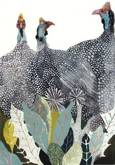 Image result for guinea fowl chicken watercolor