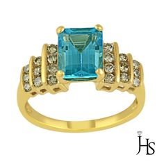 14K Yellow Gold 3.65 Cts Emerald Cut Blue Topaz (AAA) & Round Diamond Ring - JHS #WomensClassicGemStoneRingJHS #Engagement