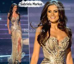 Robe de Miss Universo 2015 arabe robes de soirée une ligne d'or côté fente perles de cristal paillettes Tulle robe de soirée de bal(China (Mainland))