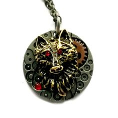 1321 Steampunk Wolf Necklace
