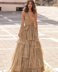 18 Gold Wedding Gowns For Bride Who Wants To Shine ❤ gold wedding gowns a line sparkle v neckline tarikediz #weddingforward #wedding #bride #weddingoutfit #bridaloutfit #weddinggown