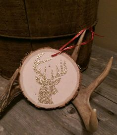 Glitter Reindeer On Wood Slice Ornament '15