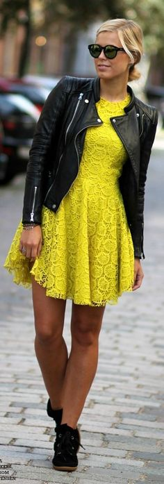 Bright Yellow Lace   Black Leather Jacket.