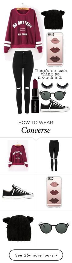 """No Such Thing As Normal"" by emiliajf on Polyvore featuring Topshop, Smashbox, Casetify, Converse, Eugenia Kim and Ray-Ban"