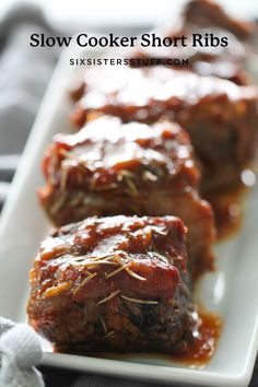 These Slow Cooker Short Ribs only require five ingredients and can be put together in a matter of minutes. Put them in the slow cooker and let them cook all day and you have dinner ready that evening. This meat is so tender and savory it falls apart with your fork. You are going to love this one. Slow Cooker Short Ribs, Slow Cooker Ribs Recipe, Best Slow Cooker, Slow Cooker Beef, Slow Cooker Recipes, Crockpot Recipes, Smoker Recipes, Milk Recipes, Short Ribs Recipe Easy