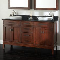 """60"""" Tobacco Madison Double Vanity Cabinet with Semi-Recessed Basins"""