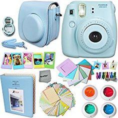 FujiFilm Instax Mini 8 Camera BLUE + Accessories KIT for Fujifilm Instax Mini 8 Camera includes: Custom Mini 8 Case with Strap + Assorted Frames + Photo Album + 4 Color Filters + Selfie Mirror + MORE