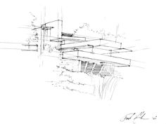 Falling Water by Frank Lloyd Wright Sketched by Frederick Clifford Gibson, Architect