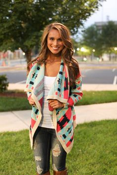 The Bonfire Cardigan AZTEC LADIES MEDIUM PINK LILLY BOUTIQUE SOLD OUT! #Handmade #Cardigan