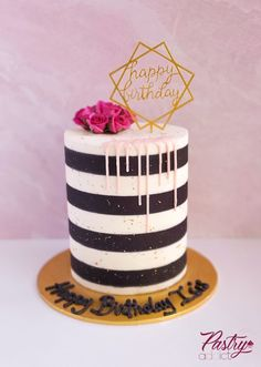 Black and white striped cake with gold flecks, blush pink drip, happy birthday topper and mini carnations. Call or email us to design your dream cake today! #katespadecake #katespadeparty #katespadeideas #blackandwhitecake #birthdaycakeideas #dinnerpartyideas #womenbirthdaycake #goldcakes #stripedcakes 22nd Birthday Cakes, White Birthday Cakes, Beautiful Birthday Cakes, Happy Birthday, Kate Spade Cake, Black White Cakes, Mini Carnations, Striped Cake, Beautiful Cake Designs