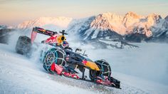 Toro Rosso's Max Verstappen indulged in some rather extreme pre-season 'testing' on Thursday as he took a Red Bull show car for an icy spin on a specially designed section of the legendary Streif ski course in Kitzbuhel, Austria. Red Bull F1, Red Bull Racing, F1 Racing, Racing Team, Grand Prix, T Race, Race Cars, Abu Dhabi, Nascar