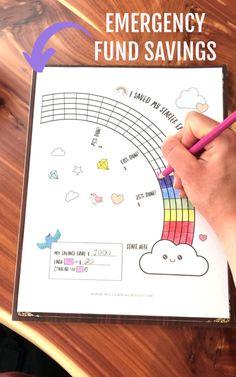 Bullet Journal Notebook, Bullet Journal Ideas Pages, Bullet Journal Inspiration, Goals Printable, Free Printables, Savings Goal, Savings Challenge, Goal Charts, Budget Planner