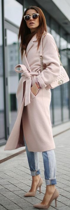 "STREET STYLE ..Rose Quartz & Serenity 2016"" Pink Wardrobe, Rose Pastel, The Blushed Nudes, Blush Pink, Pink Blue, Fashion Trends, Womens Fashion, Everyday Fashion, Pretty In Pink"