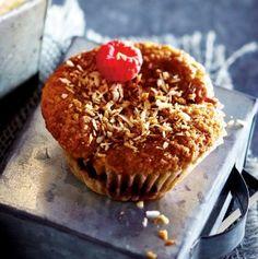 Kokos-Vanille-Muffins mit Himbeeren