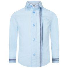 BOSS Boys Pale Blue Cotton Poplin Shirt