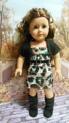 """American girl doll clothes """"Into the Jungle"""" contemporary outfit dress jacket shrug leopard print ruffles belt"""