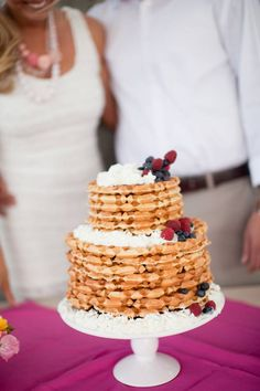 a waffle wedding cake for a brunch wedding - love it!