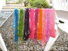 Dag, yo. This website has all the info on koolaid and food color dyeing. Vids, multiple yarn bases, multiple palettes.