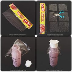 I cling-wrap every single cosmetic product that could leak. Individually. And then pack them in pretty cosmetic pouches. Better safe than sorry.—sweetiebIn order to save plastic and time, just wrap the neck of the bottle underneath the screw top. Learn how to do it here.