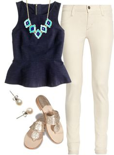 Like how Peplum tops looks on me. Really like the use of the statement necklace. Tend to like skinny jeans best. Summer Outfits, Casual Outfits, Cute Outfits, Fashion Outfits, Womens Fashion, Diy Fashion, Casual Wear, Beauty And Fashion, Passion For Fashion